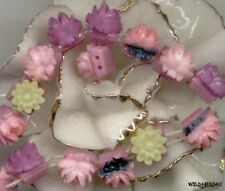 Japan VINTAGE Plastic Roses ANTIQUE Glass 2 Hole Beads Doll Buttons Sew on lot