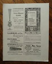 AUTHENTIC ANTIQUE 1902 PRINTED DOUBLE SIDED ADVERT SHEET  - VENICE MURANO /STAMP