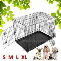 """Folding 2 Doors Wire Pet Crate Dog Cat Puppy Cage Suitcase 24""""/30""""/36""""/42""""/48"""""""