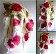 nuno felted scarf, wrap, scarves, silk, wool, handmade, lagenlook, flowers