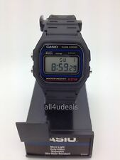 Mens Casio W59-1V Classic Black Rubber Resin Digital Sport Alarm Watch 50 Meter