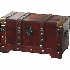 Wooden Trunk, Small Vintique Wood Antique Style Trunk  Antique Cherry QI003001
