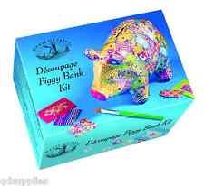 House Of Crafts Decoupage Piggy Bank Kit Paper Mache Pig Money Box Craft HC590