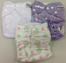 3 Reusable Cloth Pocket Diapers + Inserts. Adjustable to Fit 8-35 lb. USA SELLER