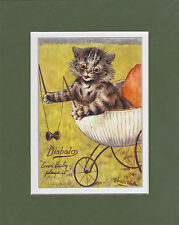 MOUNTED LOUIS WAIN CAT PRINT  -  DIABOLO  -  EVEN  BABY  PLAYS  IT