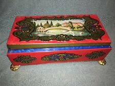 VINTAGE FRICKE & NACKE WESTERN GERMANY FOOTED CANDY TIN Chateau Bridge Swans