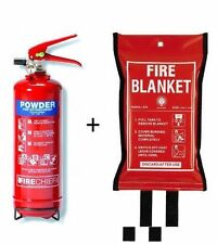 2 KG DRY POWDER ABC FIRE EXTINGUISHER WITH FIRE BLANKET HOME OFFICE KITCHEN. CE