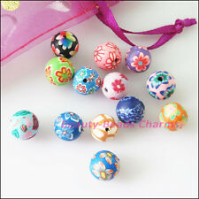 15Pcs Mixed Handmade Polymer Fimo Clay Round Spacer Beads Charms 10mm