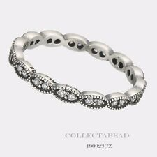 Authentic Pandora Sterling Silver Sparkling Leaves CZ Ring Size 60 (9) 190923CZ