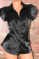 Shiny sleek faux elasticated black satin shirt blouse top size 12