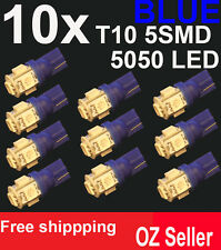 10X T10 5SMD 5050 LED BLUE for Car Side light Number plate Bulb DC 12V wedge