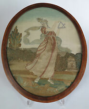Georgian silk on silk embroidery 'Lady with triangle'. Psyche. c1780