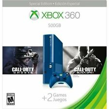NEW Xbox 360 E Blue Bundle Special Edition 500GB with COD Ghosts and Black Ops 2