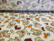 """Brown """"Rocking Horse & Teddy's"""" Children's Printed 100% Cotton Fabric. 58"""" Wide."""
