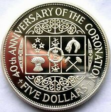 New Zealand 1993 Coronation 5 Dollars Silver Coin,Proof
