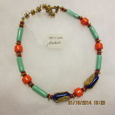 MIRIAM HASKELL EGYPTIAN COLLECTION NECKLACE W IMITATION LAPIS, CORAL, TURQUOISE