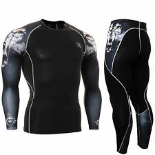 Skin tight compression base layer Long sleeve Under Shirt & Pants SET CPD/P2L-se