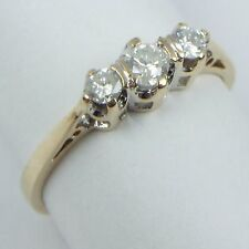 9Carat 9ct Yellow Gold 0.25Ct Diamond Set Three-Stone Trilogy Ring UK Size K