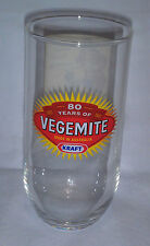 """KRAFT Vegemite glass 80 years Oliver Twist """"MORE"""" on reverse side Excellent cond"""