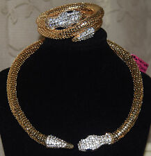 BETSEY JOHNSON GORGEOUS MESH GOLDTONE CRYSTAL HEAD & TAIL SNAKE BRAC & NECKLACE