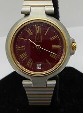 Authentic Dunhill Millennium Date Red Dial Gold Plated Quartz Mens Watch