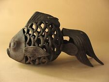 old Estate iron metal tea ceremony garden Fish LANTERN Japanese pagoda lamp