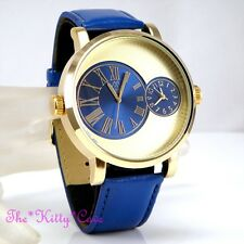 Designer Gold & Blue Leather Dual Time 2 Twin Zone Double Dial Big Sunray Watch
