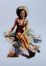 Cowgirl frying fish at camp fire, by Crandall