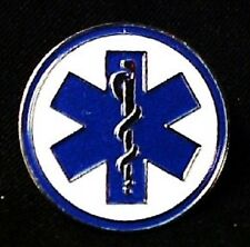 Blue Star Of Life Lapel Pin White Blue Cloisonne Badge Tac EMT Silver Plated New