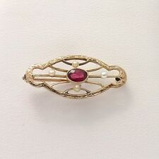 Art Nouveau 14k Rose & Yellow Gold .60ct Natural Ruby Seed Pearl Brooch Pin
