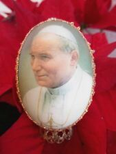 VINTAGE RARE EASTER REAL EGG POPE JOHN PAUL II HAND DECORATED