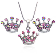 Princess Pink Crown Tiara Pendant Necklace Stud Earrings Jewelry Set s31sp