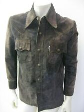Vintage Levi's Big E Snap Up Slim Fit Suede Leather Jacket Size MEDIUM