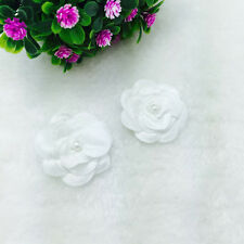 6pcs Satin ribbon bows flower with pearl wedding appliques/Crafts white