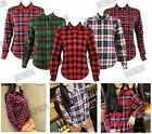 Womens Gingham Festival Long Sleeve Fitted Lumberjack Check Flannel Shirt Top