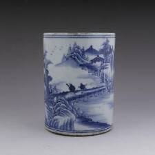 CHINESE QING SCHOLAR'S BLUE AND WHITE WARES PORCELAIN CALLIGRAPHY BRUSH POT