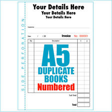 Personalised Invoice Books Pads A5 Numbered 5 books of 50 duplicate sets
