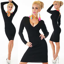 Womens Sexy Knitted Dress in Black. V neck. Ribbed knee length size 8/10