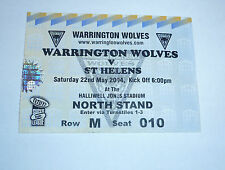WARRINGTON WOLVES v St HELENS 22nd MAY 2004, NORTH STAND TICKET