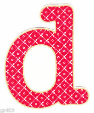 "3"" PRETTY FLOWER  ALPHABET ABC'S LETTER D MONAGRAM   FABRIC APPLIQUE IRON ON"