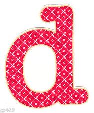 """3"""" PRETTY FLOWER  ALPHABET ABC'S LETTER D MONAGRAM   FABRIC APPLIQUE IRON ON"""