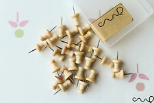 Light Brown Wooden Push Pin 25 Drawing Pins Cork Board Map Office Thumb VAT