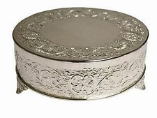"22"" SILVER ROUND CAKE Plateau STAND Wedding Birthday Party Catering Decorations"