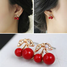 Hot Delicate Crystal Rhinestone Women's Red Cherry Stud Earrings Jewellery Gift