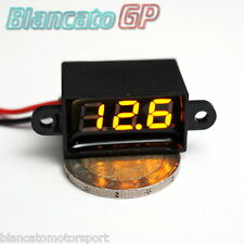MICRO VOLTMETRO WATERPROOF DC 3.50-30.0V LED GIALLO digitale auto moto camper