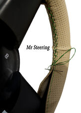 FOR BMW X1 E84 BEIGE PERFORATED REAL LEATHER STEERING WHEEL COVER GREEN STITCH