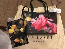 Bnwt Ted Baker Janelle Citrus Bloom Black Floral Shopper Bag & Clutch Purse