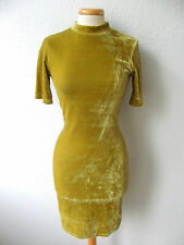 PRIMARK CHARTREUSE GREEN VELVET POLO NECK VINTAGE BODYCON DRESS XMAS PARTY 10/38