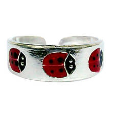 ARGENTO STERLING (925) regolabile LADYBIRDS Toe Ring!! NUOVO!!