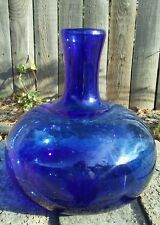 Hand Blown Cobalt Blue Glass Bulbous / Globular onion shaped decanter / Bottle